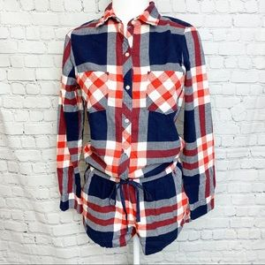 Aerie long sleeve pajama button front romper
